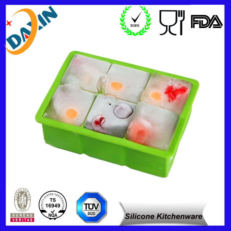 6 Holes Square Heat Resistant FDA Silicone Ice Cube Mold