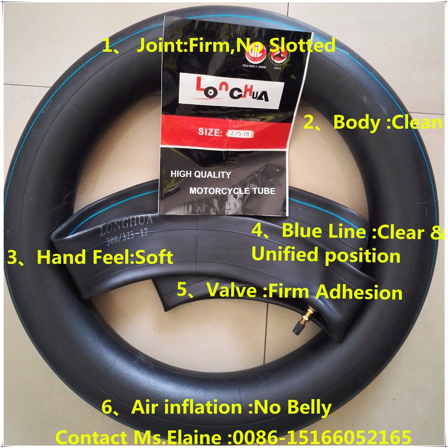 Distributor ISO9001 Certificated Natural Butyl Motorcycle Inner Tube (300/3.25-18)