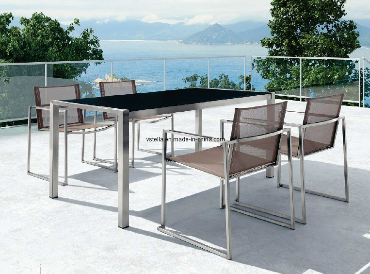 China Patio Stainless Steel Outdoor Dining Table And Chair   China Stainless  Steel Table And Chair, Outdoor Dining Table And Chair