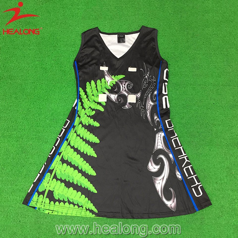 Healong Custom Sportswear Design Sublimation Netball Jersey for Sale