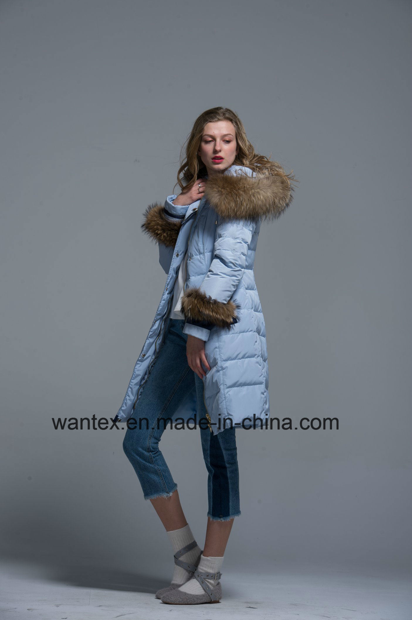 Ladies Loose Down Coat Fashion 80% Eiderdown Autumn Winter Blue Warm