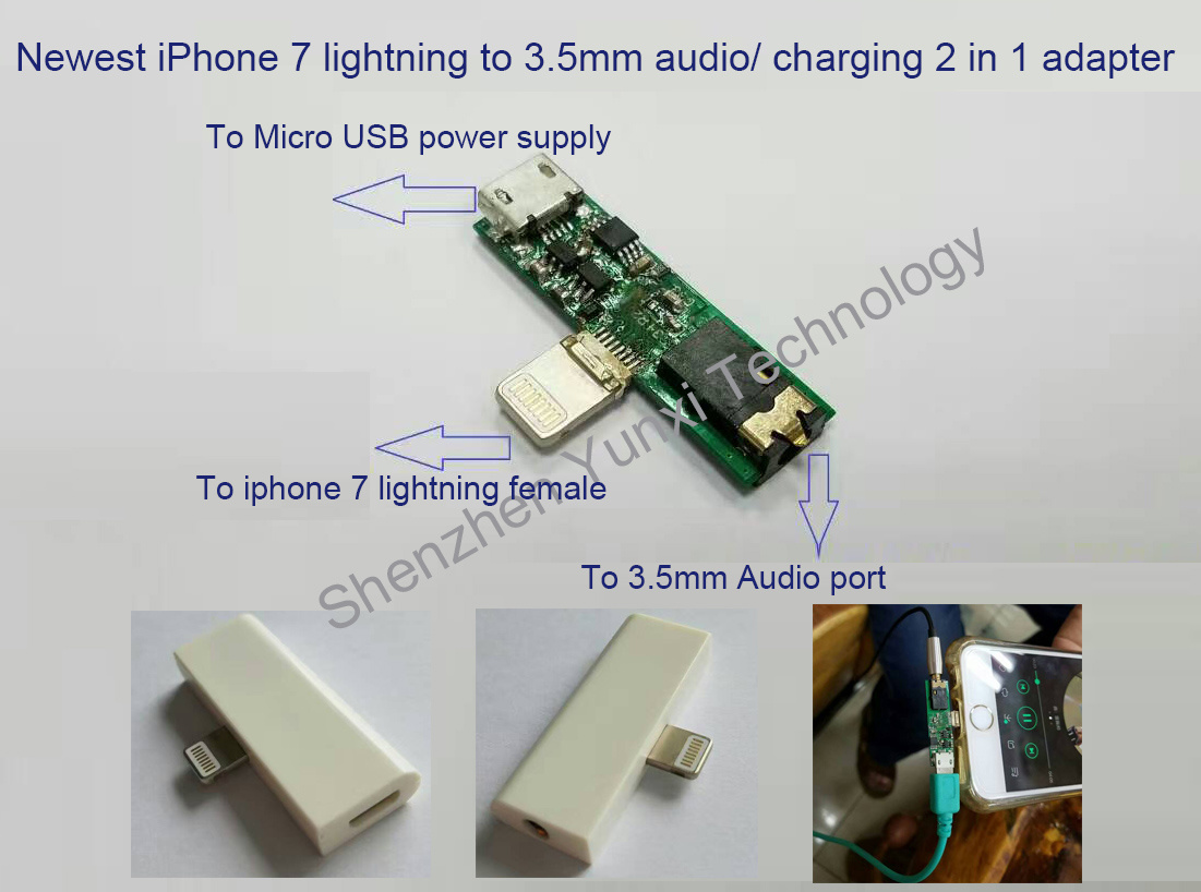 2016 Newest 8pin Lighting to 3.5mm Audio Jack 2 in 1 Converter for iPhone7 Earphone Headset Adapter
