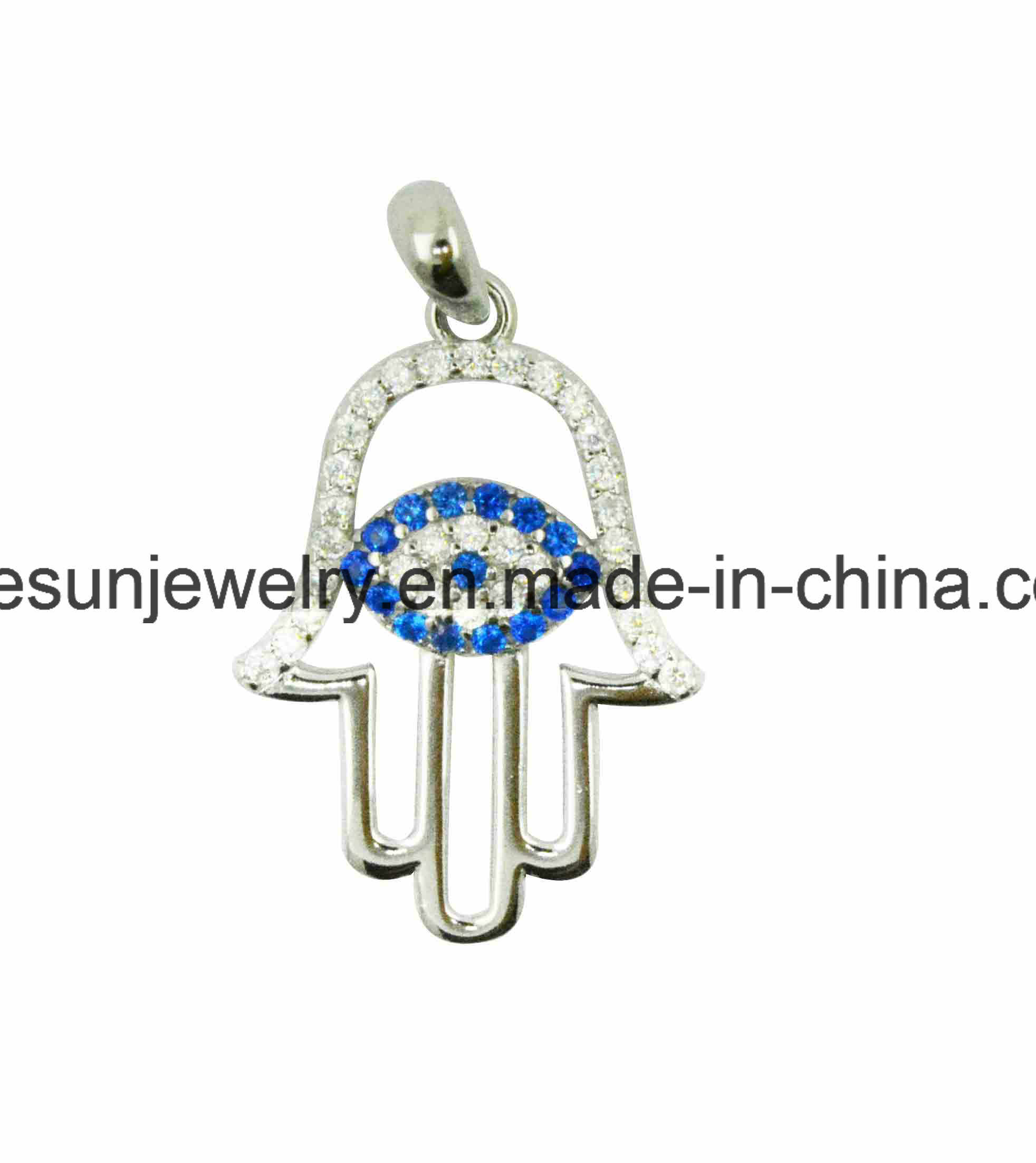 925 Sterling Silver Hand with Greek Eye Pendant