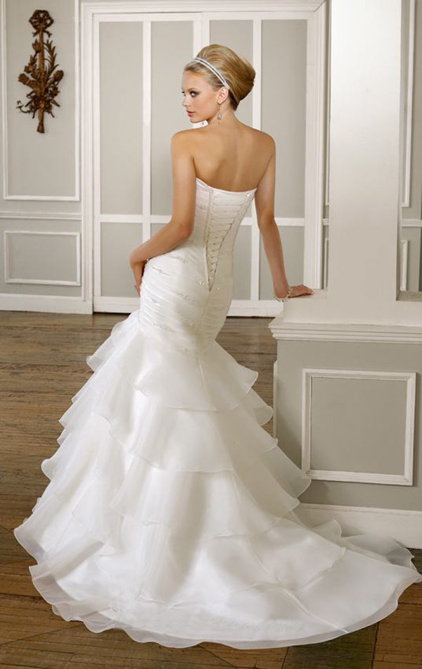 New Arrival Stock Mermaid Stapless Neck Wedding Dress (F164)