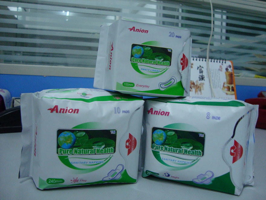 Pure Natural Healthy Anion Sanitary Napkin for India (240mm, 280mm, 155mm)
