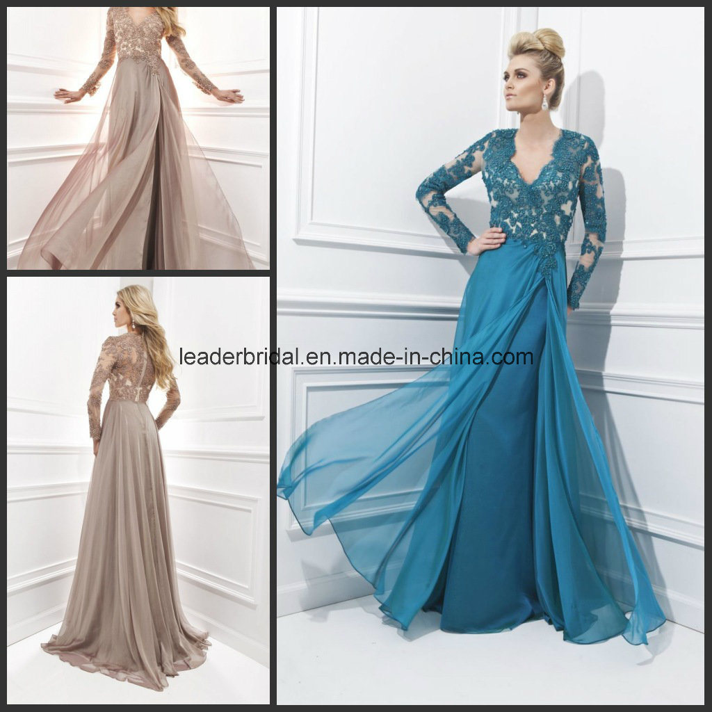 China Long Sleeve Ladies Party Dresses A-Line Prom Women Gowns ...