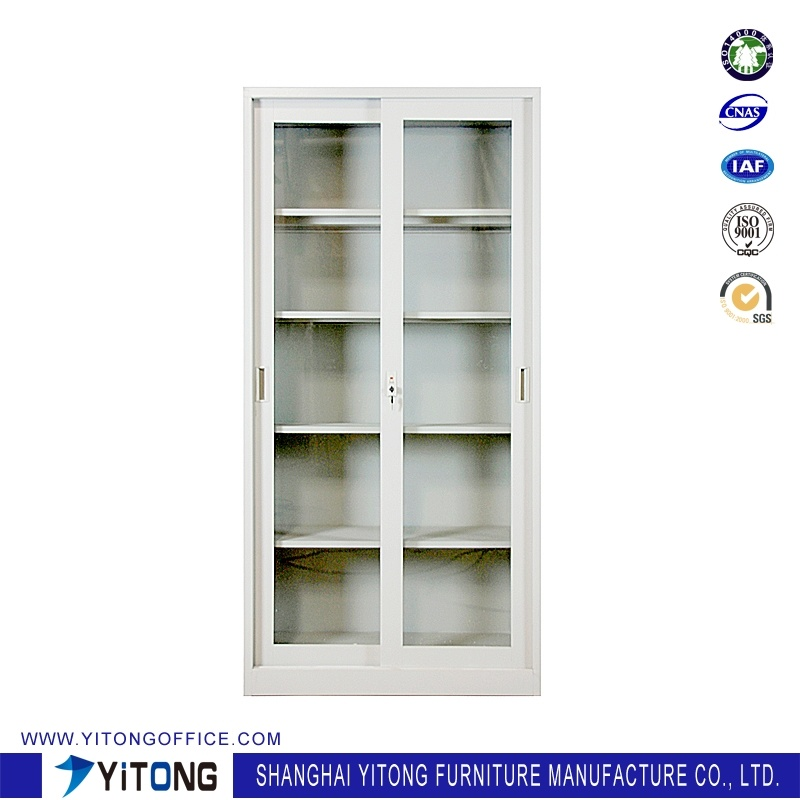 2-Door Glass Door Movable Door Metal Storage Cabinet / Office Use Steel File Cabinet