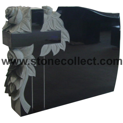 Shanxi Black Granite Headstone with Carved Rose Flower