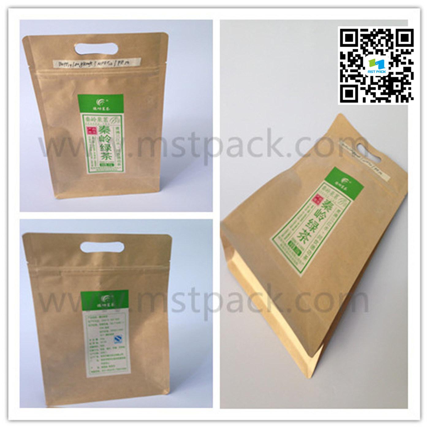 200g Tea Packaging Bag Kraft Paper Aluminium Foil Flat Bottom