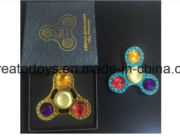Hot Selling Alloy Fidget Spinner with Gem for 2 Color in Best Funny Toys /Gift