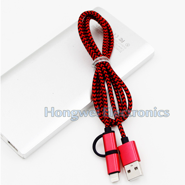 USB 3.1 Type-C to Micro USB 2 in 1 Nylon Braided Micro Charging USB Cable