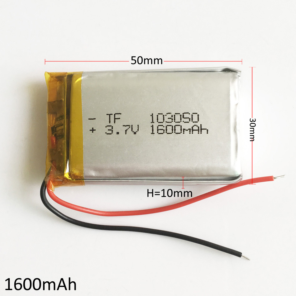 3.7V 1600mAh 103050 Lithium Polymer Li-Po Rechargeable Battery for MP3 GPS DVD Mobile Phone Pad E-book Tablet PC