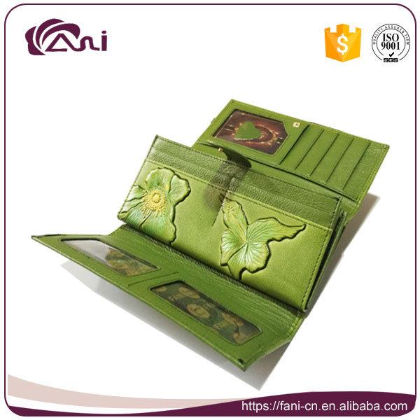 New Design Leaf Embossed Printed PU Wallets for Ladies