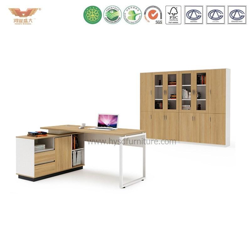 Modern Office Furniture L Shape Wooden Executive Desk (H90-01)