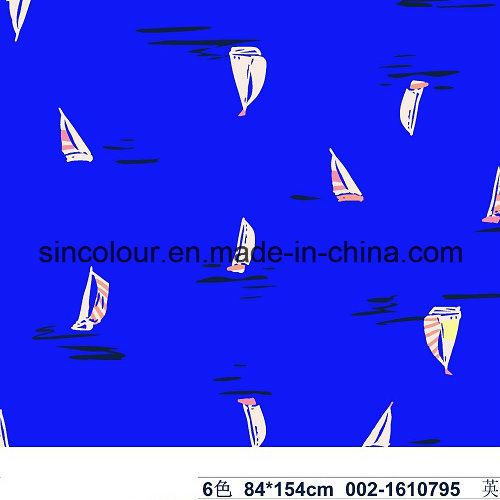 Sailing Boat Knitted Print 80%Polyamide 20%Elastane Fabric for Swimwear
