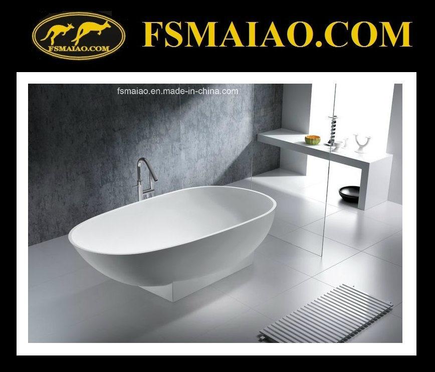 Matt/Glossy High-Frade White Stone Resin Bathtub (BS-8616)