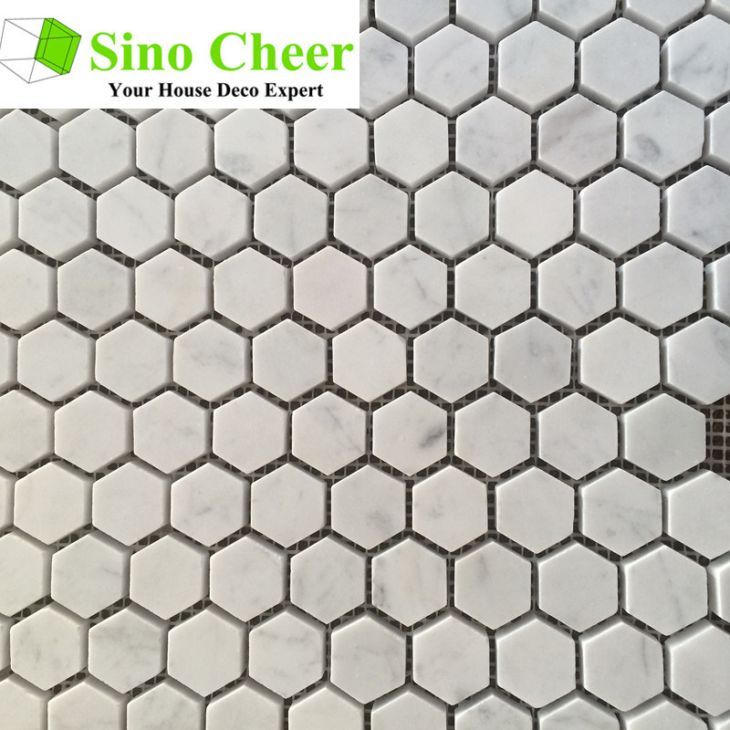 Modern Design Carrara White Marble Honed Hexagon Mosaic Tile