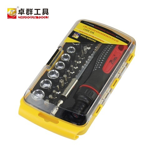 28PCS Compact Multi-Purpose Screwdriver Socket Set with Ratchet Handle