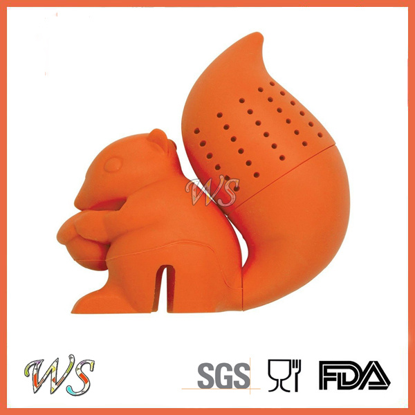 Ws-If058 Food Grade Silicone Squirrel Tea Infuser Set Leaf Strainer for Mug Cup, Tea Pot
