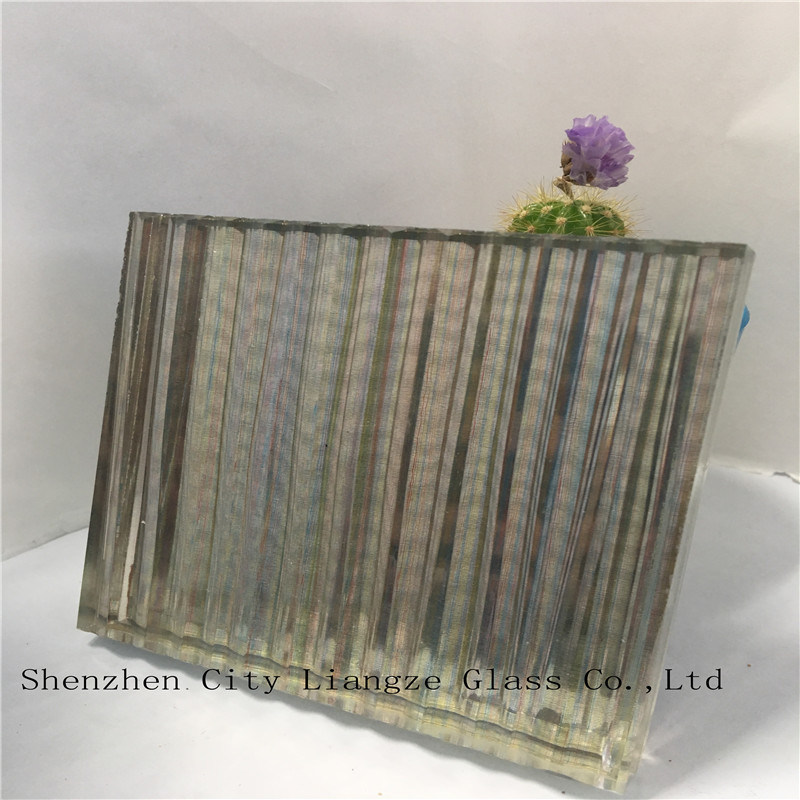 10mm+Colorful Silk+5mm Mirror Laminated Glass/Safety Tempered Glass/Art Glass for Decoration