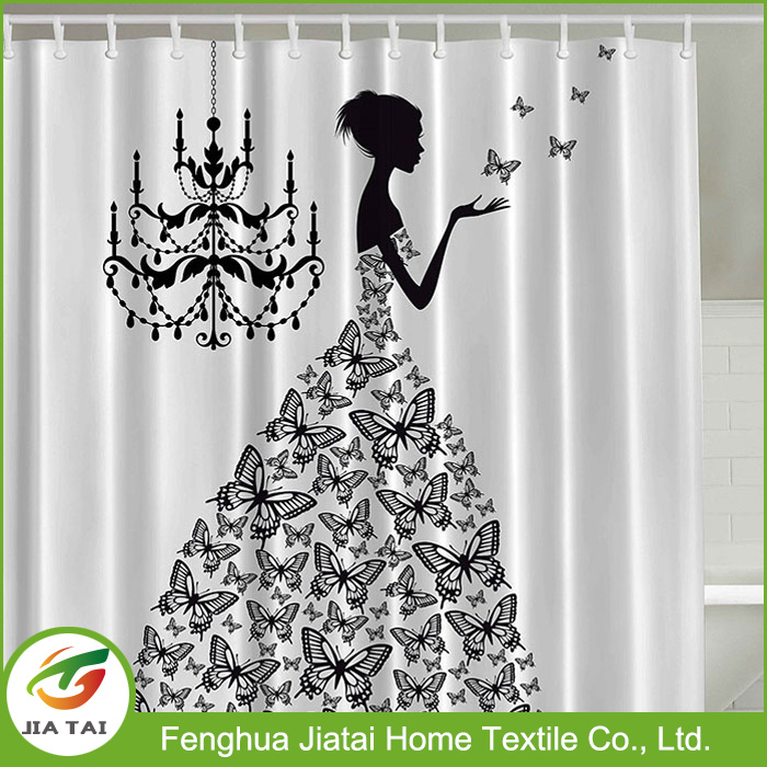 Artwork Prints Luxury Polyester Black and White Shower Curtain
