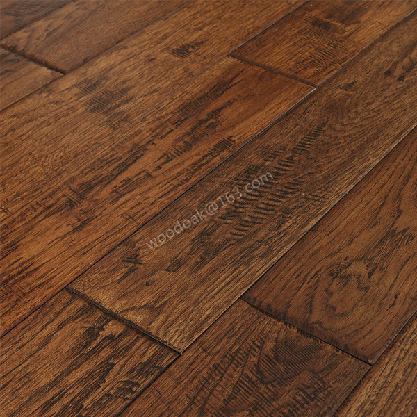 Handscraped Rustic Hickory Hardwood Flooring Hickory Wooden Flooring