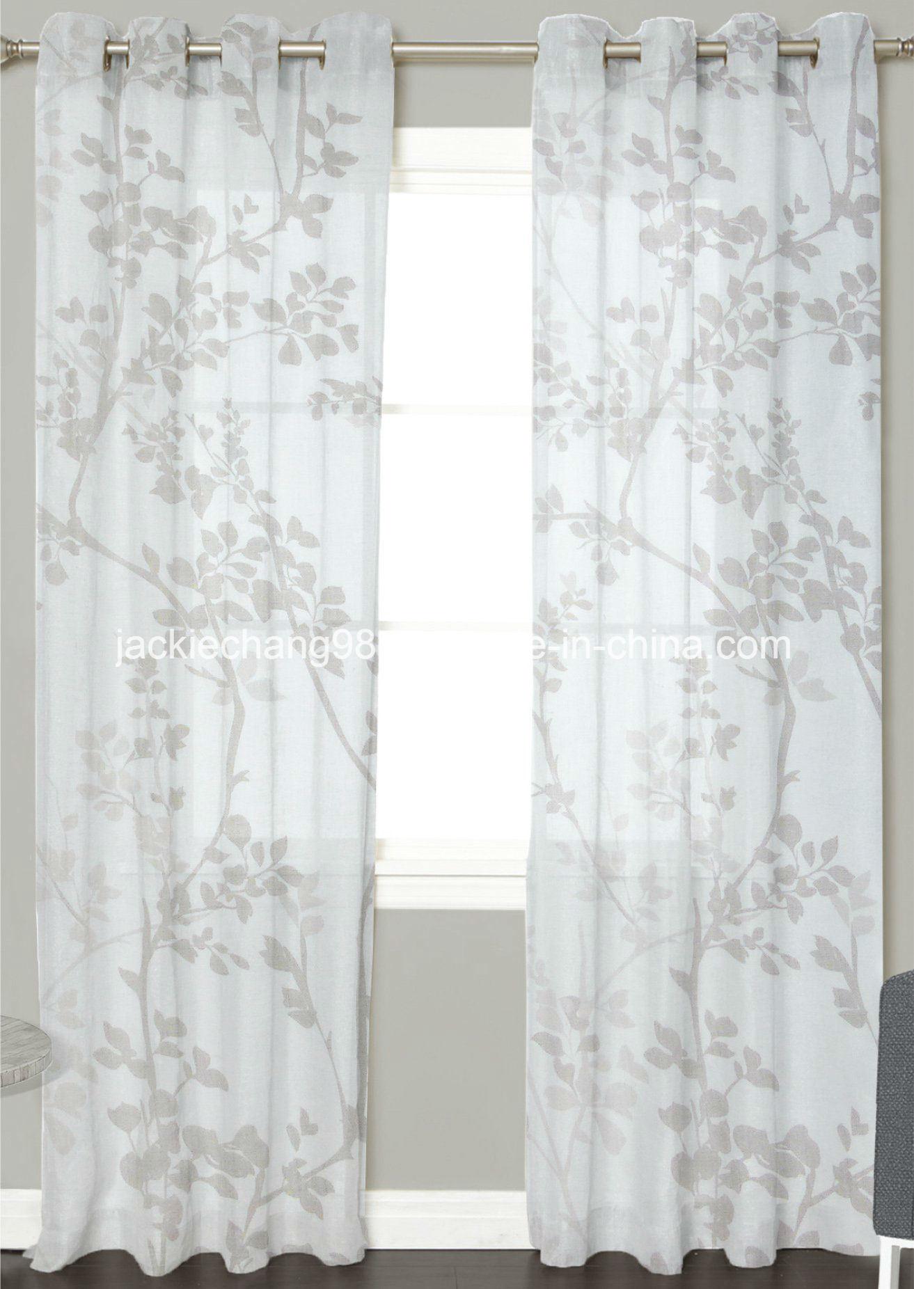 Printed Faux Linen Sheer Grommet Panel
