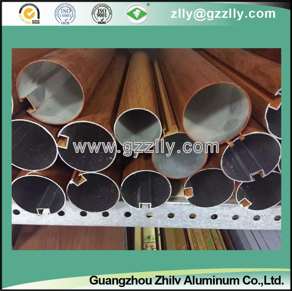 O-Shaped Wood Grain Aluminium Baffle Ceiling for Building Decoration