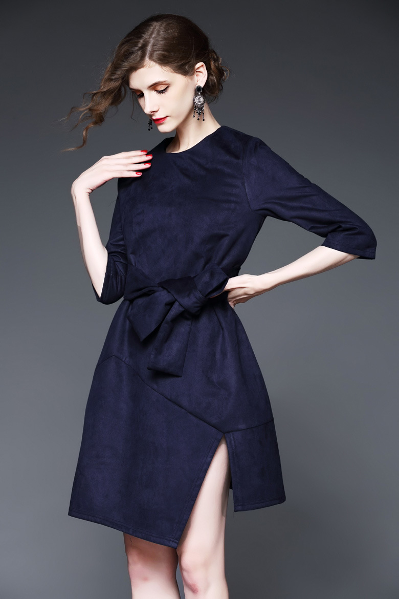 2017 High Customization Women′s Casual Dresses Zip-up Loose Faux Suede Dress