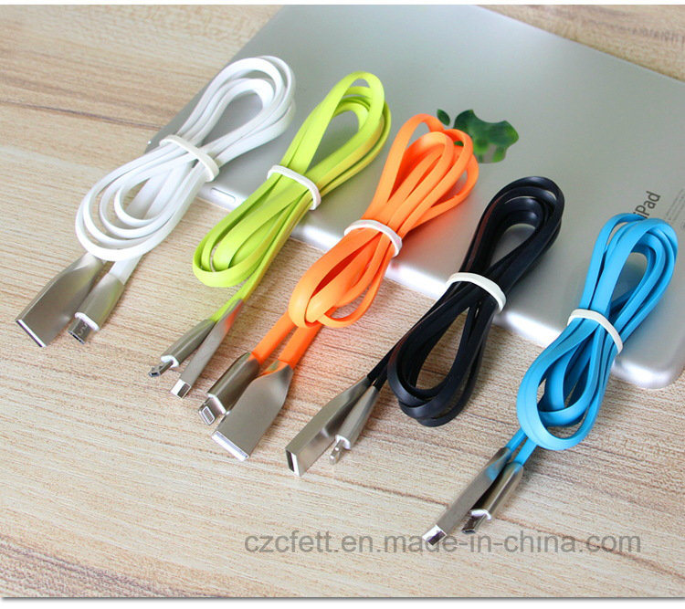 Zinc Alloy Charger&Transfer Data Rhombic Flat for iPhone-USB Cable