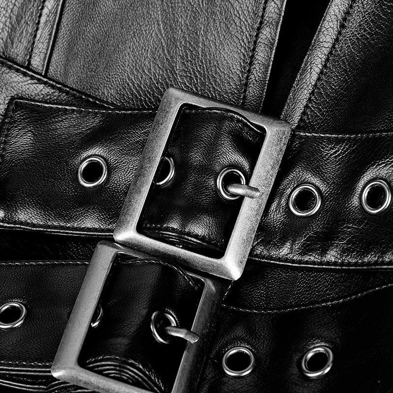 Gothic Japanese Solider Metallic Big Cloak Men Leather Long Coat (Y-747)