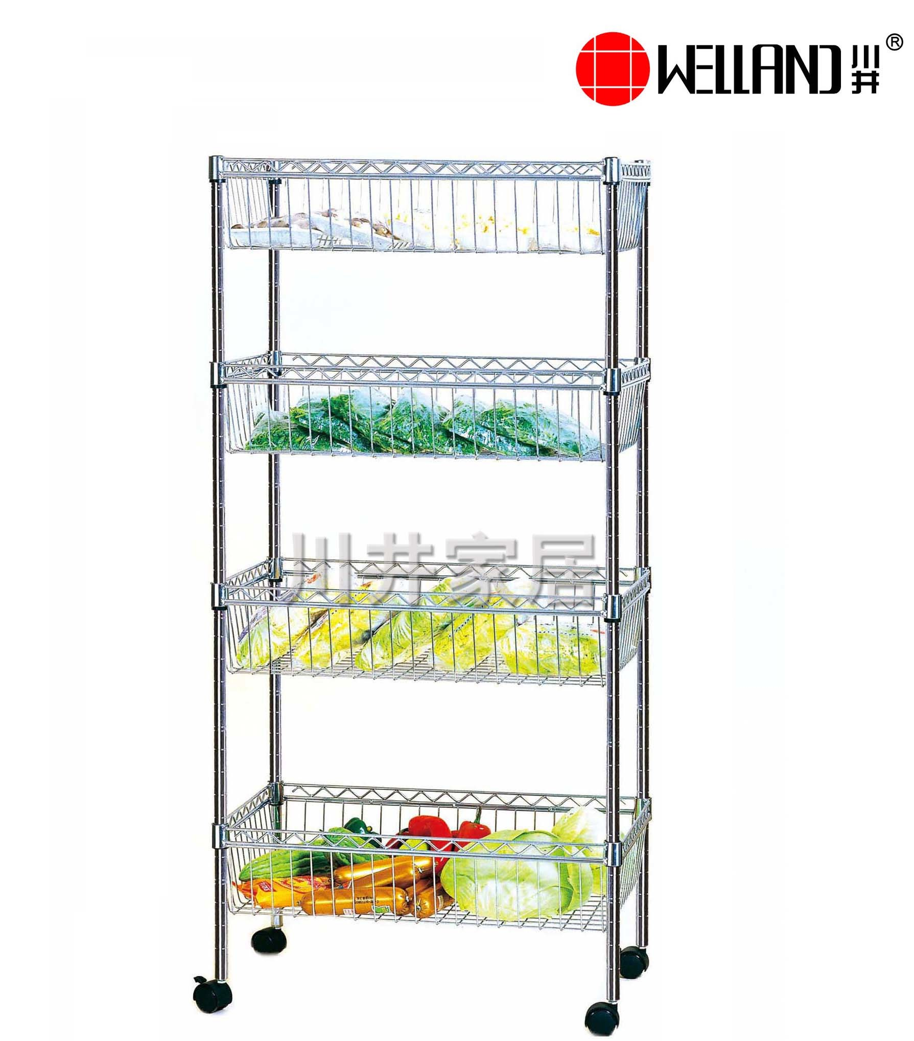 Multi-Functional Chrome Plated NSF Approved Metal Wire Kitchen Basket Rack Trolley with Nylon Wheels, Hot Sale
