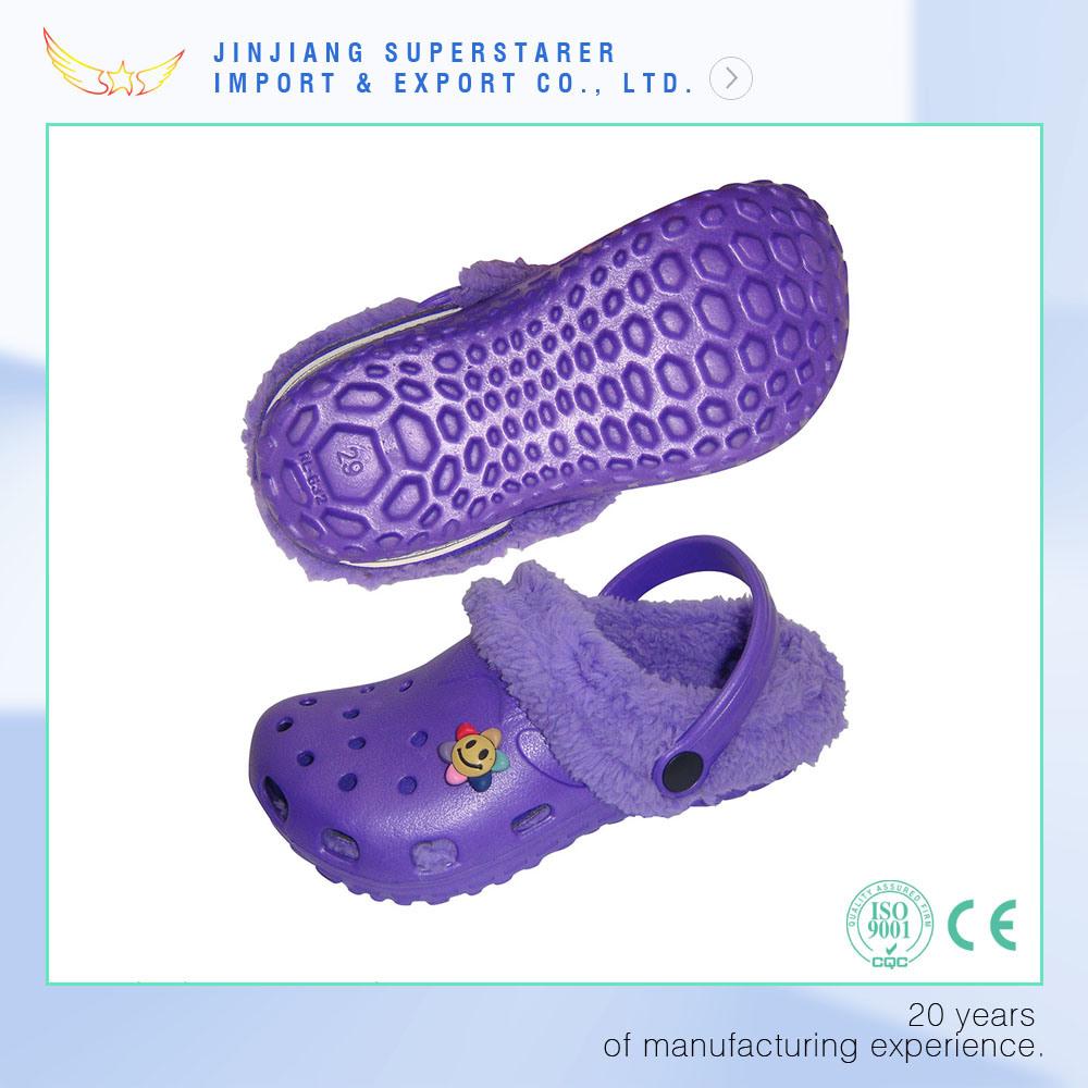 Winter Kids Children Holey Sandals Charms EVA Clog with Fur