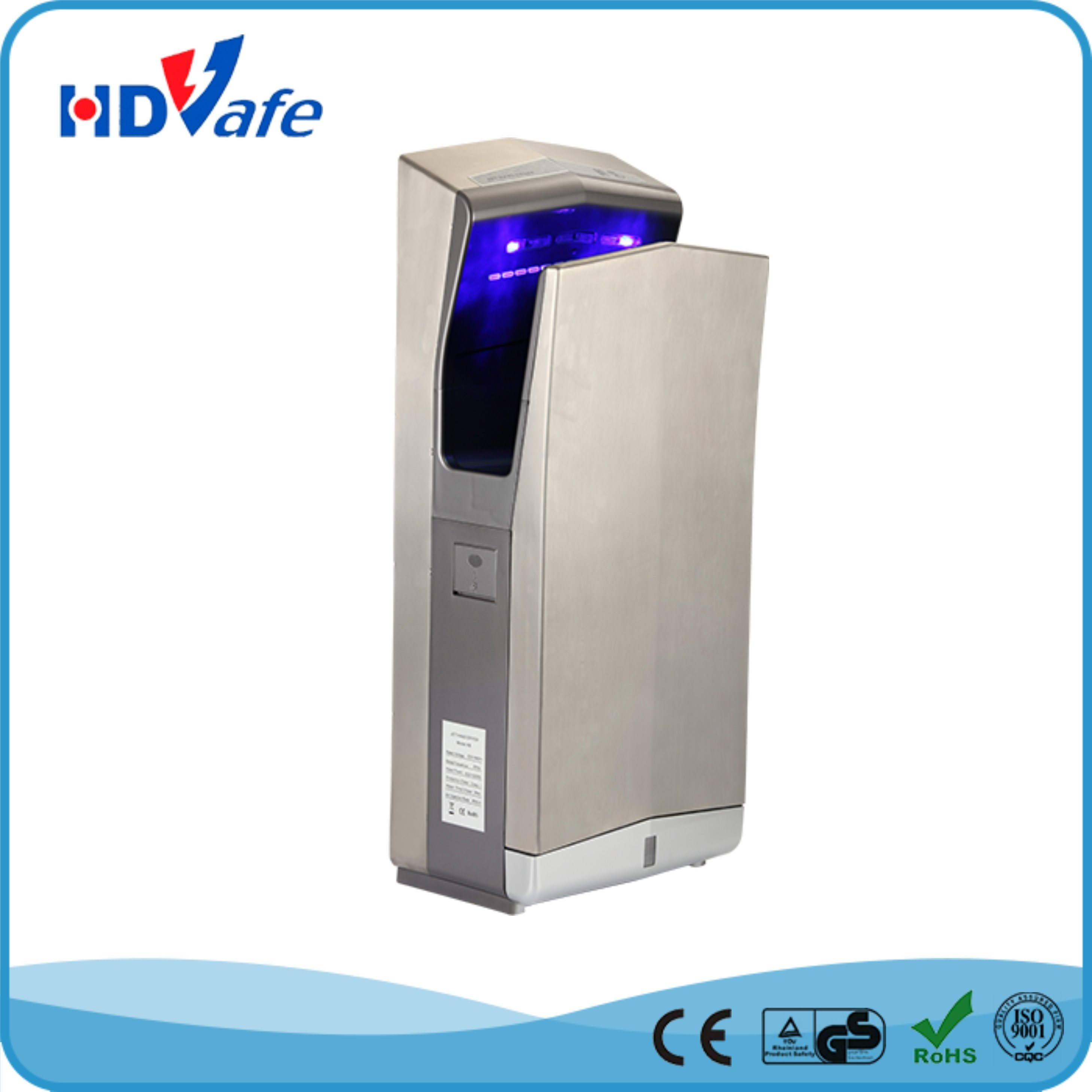 GS Manufacture High Speed Automatic Stainless Steel Air Jet Hand Dryer for Hotel Toilet Drier