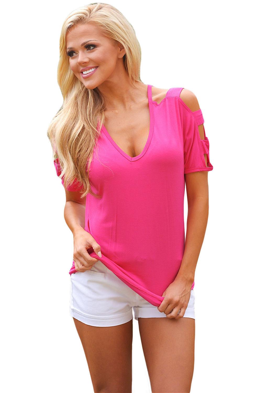 Cold Shoulder Ruched Sides T-Shirt