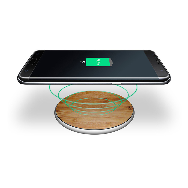 Slim Portable New Bamboo Wireless Charger Smartphone Charging Pad