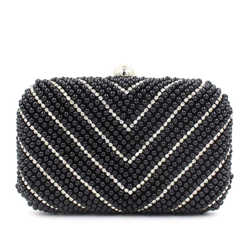 Wholesale Fashion Evening Bag V Style Pearl Clutch Bag (XW0947)