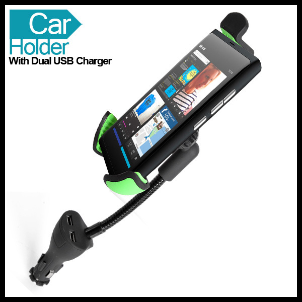 Two USB Car Charger Holder for Big Phone GPS Device