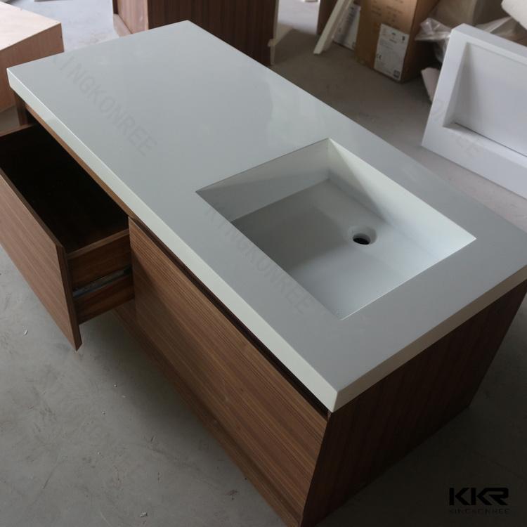 Modern Marble Stone Solid Surface Bathroom Basin Cabinet Vanity