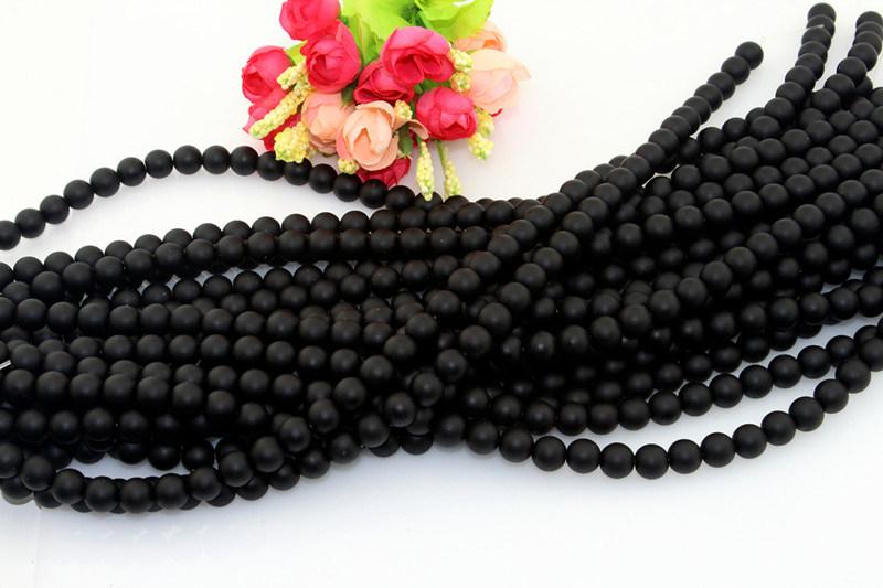 Size 6 8 10 12mm Round Black Scrub Stone Natural Bulk Semi Precious Gemstone Stone Beads