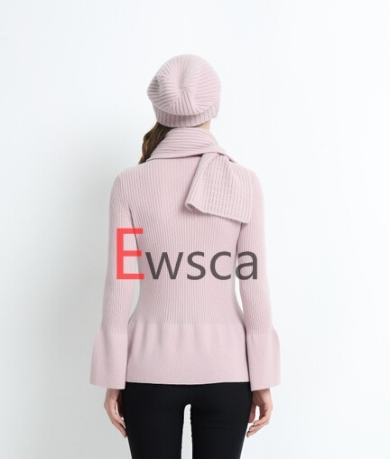 Pink Color Young 100% Pure Cashmere Cloth with Falbala Bottom
