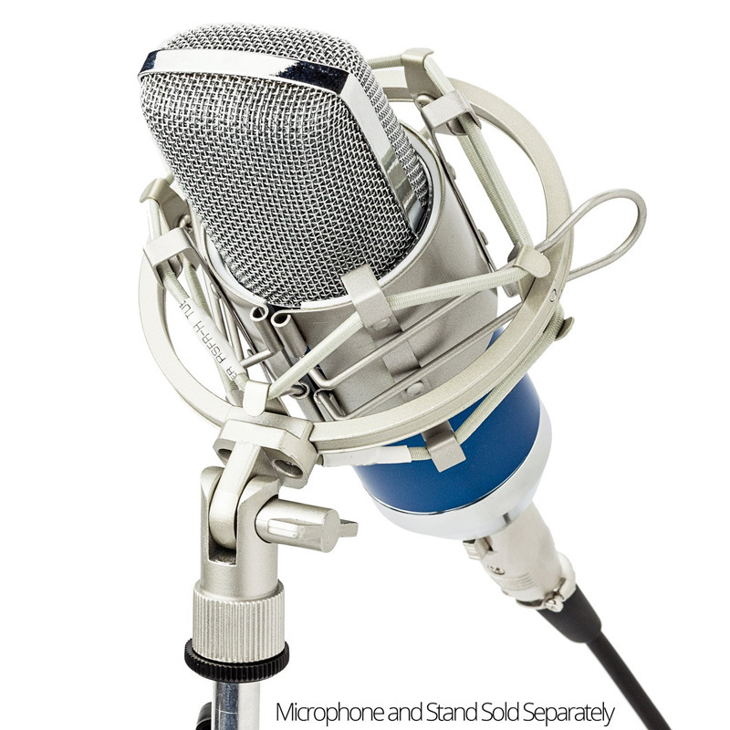 T-5 Silver Radio Broadcasting Studio / Voice-Over / Sound Studio / Recording (Black) 48-51mm Diameter Microphones Shoct Mount