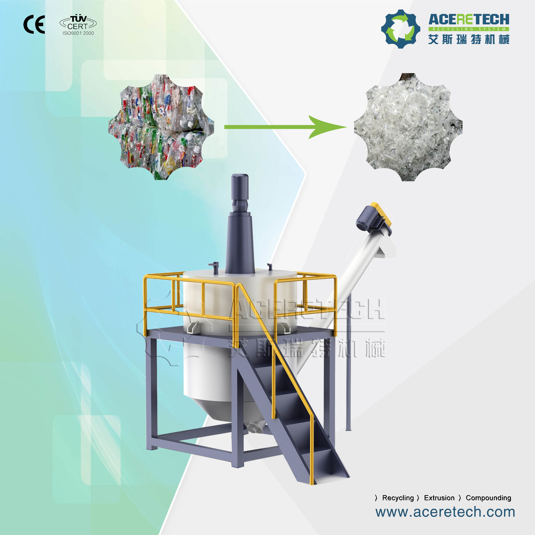 Plastic Recycling and Pelletizing Machine for PE/PP/PA/PVC/ABS/PS/PC/EPE/EPS/Pet