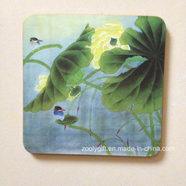Paint Printing Wooden Cup Coaster / Promotional Square Shape Cork Placemat