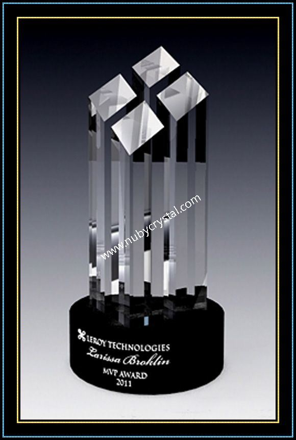9 Inch Tall Crystal Faceted Tower Award (NU-CW775)