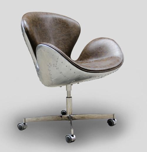 Aluminium Sheet Fiberglass Frame Leather Swan Chair