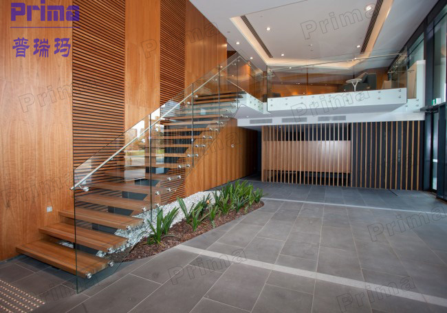 Prefabricated Glass Wood Floating Stairs Prices Glass Balustrade