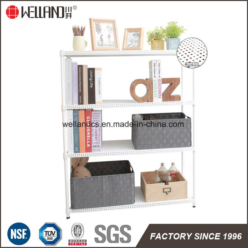 Adjustable 3 Tiers Powder Coating Perforated Metal Book Shelving for Home (MR603090C4)