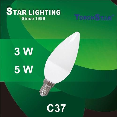 5W Aluminum Plastic C37 LED Candle Bulb