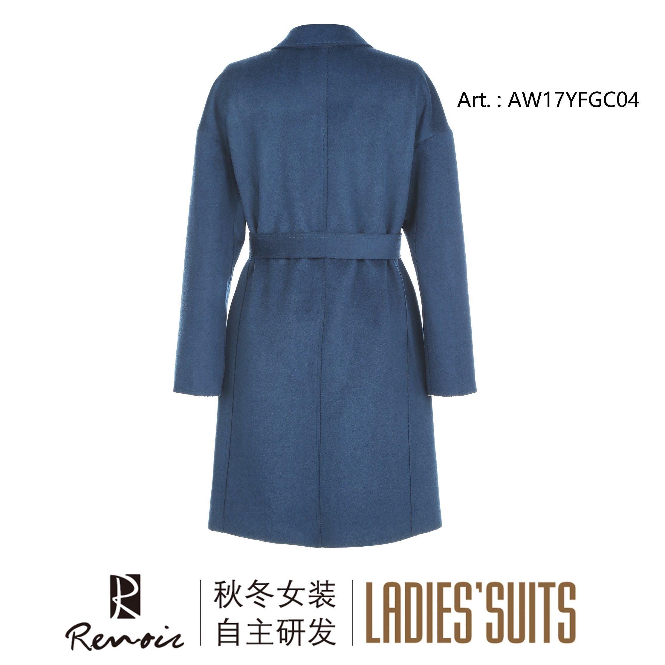 OEM Blue Woolen Winter Women′s Dust Coat